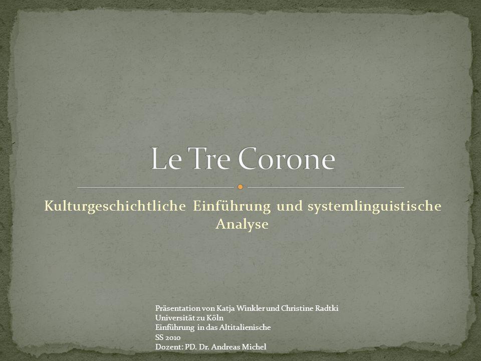 Kulturgeschichtliche Einführung und systemlinguistische Analyse Präsentation von Katja Winkler und Christine Radtki Universität zu Köln Einführung in