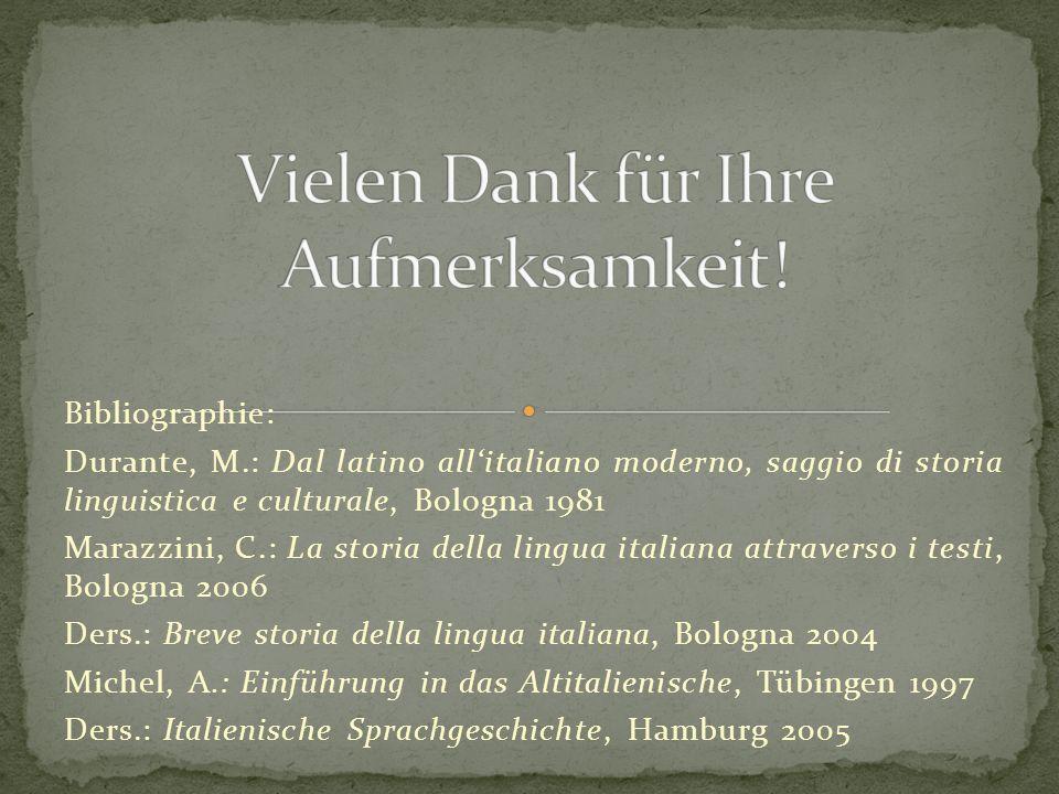 Bibliographie: Durante, M.: Dal latino allitaliano moderno, saggio di storia linguistica e culturale, Bologna 1981 Marazzini, C.: La storia della ling