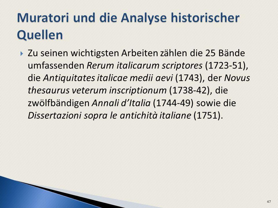 Zu seinen wichtigsten Arbeiten zählen die 25 Bände umfassenden Rerum italicarum scriptores (1723-51), die Antiquitates italicae medii aevi (1743), der Novus thesaurus veterum inscriptionum (1738-42), die zwölfbändigen Annali dItalia (1744-49) sowie die Dissertazioni sopra le antichità italiane (1751).