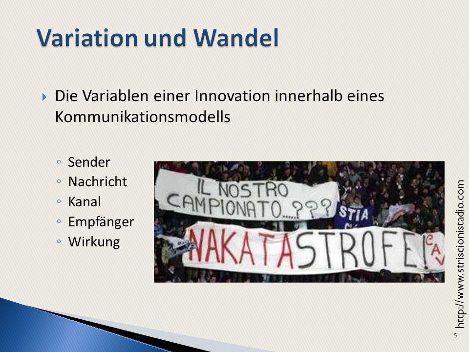 5 Die Variablen einer Innovation innerhalb eines Kommunikationsmodells Sender Nachricht Kanal Empfänger Wirkung http://www.striscionistadio.com