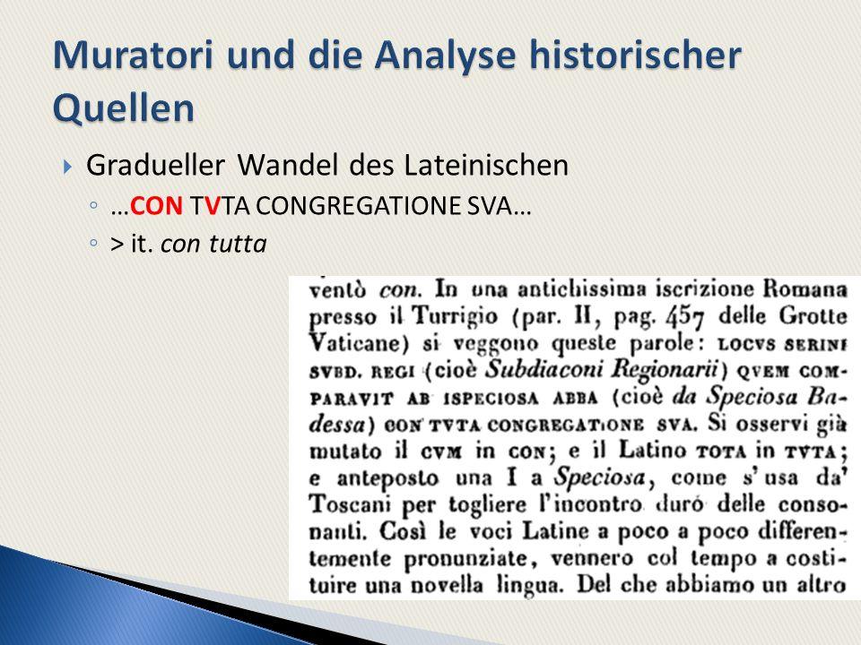 Gradueller Wandel des Lateinischen …CON TVTA CONGREGATIONE SVA… > it. con tutta