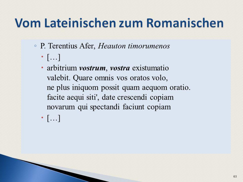 P. Terentius Afer, Heauton timorumenos […] arbitrium vostrum, vostra existumatio valebit. Quare omnis vos oratos volo, ne plus iniquom possit quam aeq