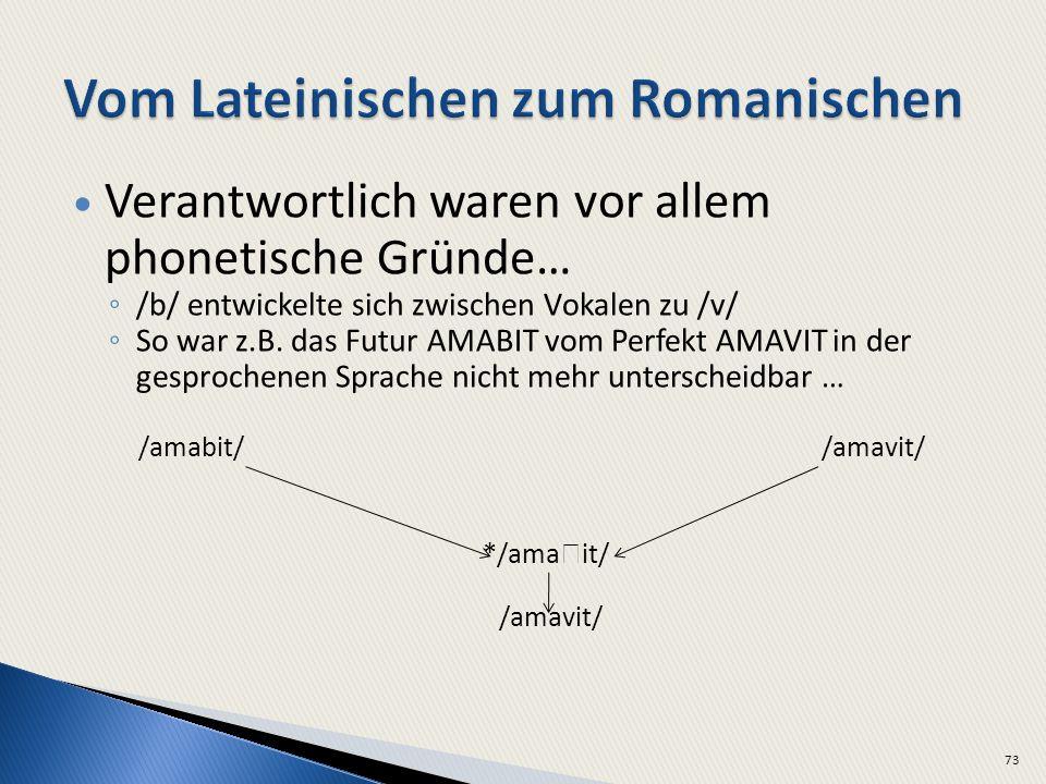 Verantwortlich waren vor allem phonetische Gründe… /b/ entwickelte sich zwischen Vokalen zu /v/ So war z.B.
