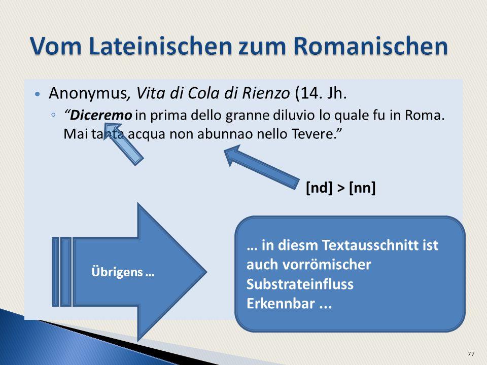 Anonymus, Vita di Cola di Rienzo (14. Jh. Diceremo in prima dello granne diluvio lo quale fu in Roma. Mai tanta acqua non abunnao nello Tevere. 77 Übr