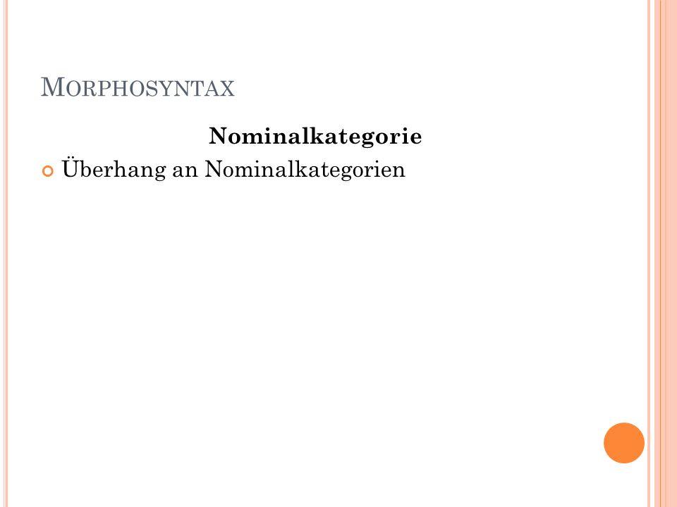 M ORPHOSYNTAX Nominalkategorie Überhang an Nominalkategorien