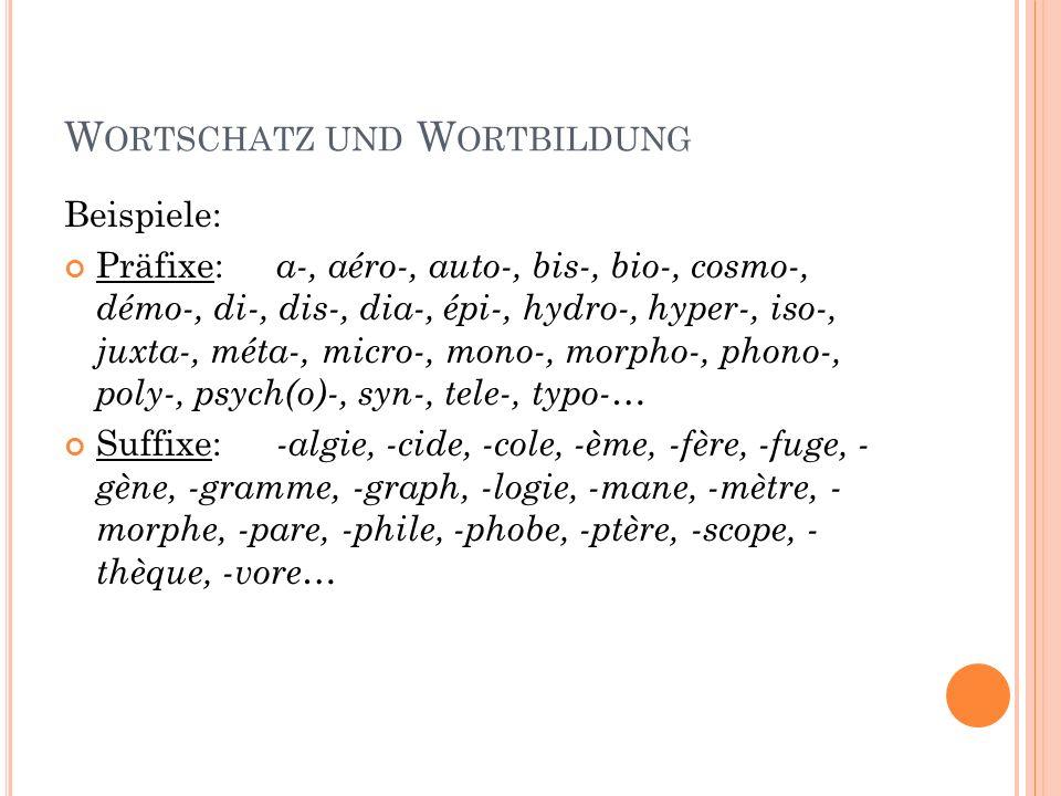 W ORTSCHATZ UND W ORTBILDUNG Beispiele: Präfixe: a-, aéro-, auto-, bis-, bio-, cosmo-, démo-, di-, dis-, dia-, épi-, hydro-, hyper-, iso-, juxta-, mét