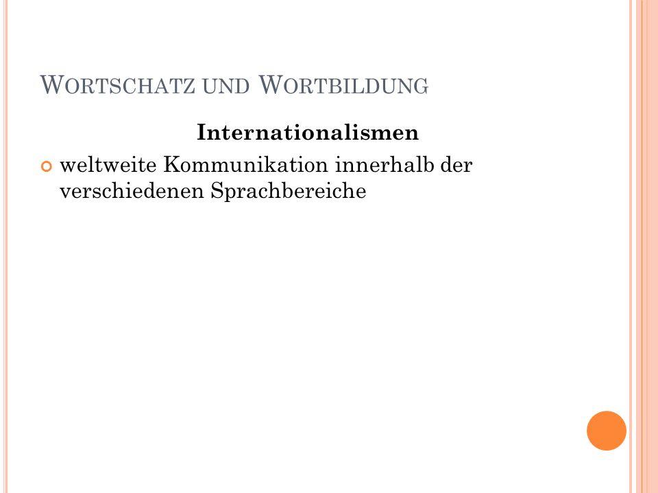 W ORTSCHATZ UND W ORTBILDUNG Internationalismen weltweite Kommunikation innerhalb der verschiedenen Sprachbereiche