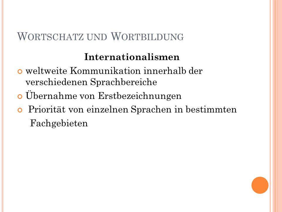 W ORTSCHATZ UND W ORTBILDUNG Internationalismen weltweite Kommunikation innerhalb der verschiedenen Sprachbereiche Übernahme von Erstbezeichnungen Pri
