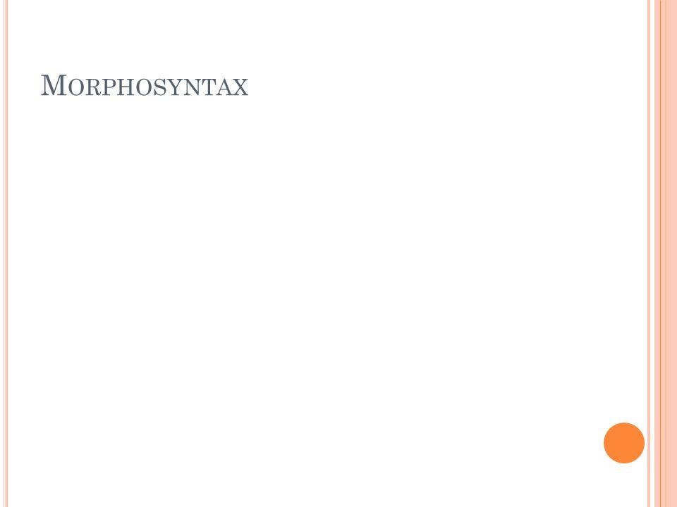 M ORPHOSYNTAX Satzbau einfacher und schmuckloser Satzbau ohne unter- und übergeordnete Satzgefüge Aneinanderreihungen von kurzen und prägnanten Sätzen Grundschema: A ist x, A hat x, A tut x als Nebensätze treten wenn nur Relativsätze, Partizipial- und Infinitvkonstruktionen auf