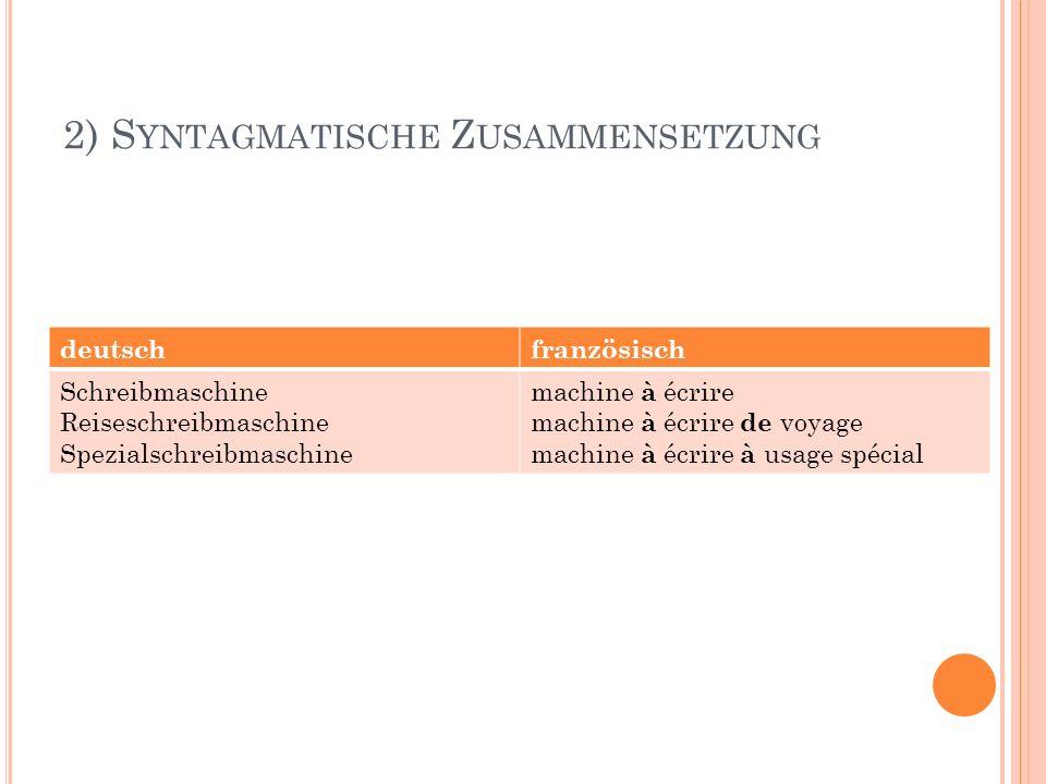 2) S YNTAGMATISCHE Z USAMMENSETZUNG deutschfranzösisch Schreibmaschine Reiseschreibmaschine Spezialschreibmaschine machine à écrire machine à écrire d