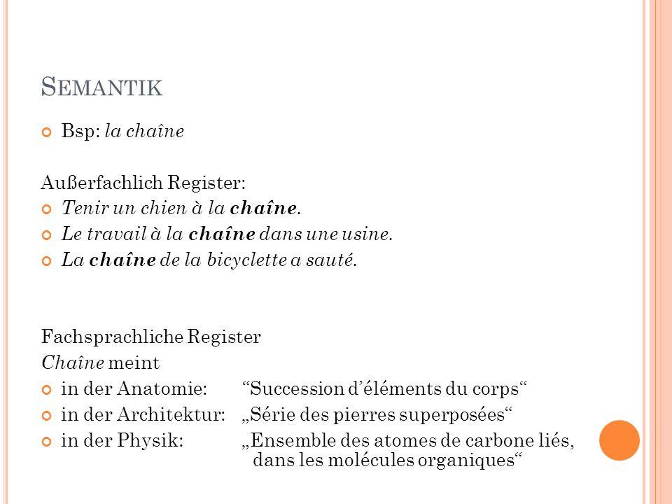 S EMANTIK Bsp: la chaîne Außerfachlich Register: Tenir un chien à la chaîne. Le travail à la chaîne dans une usine. La chaîne de la bicyclette a sauté
