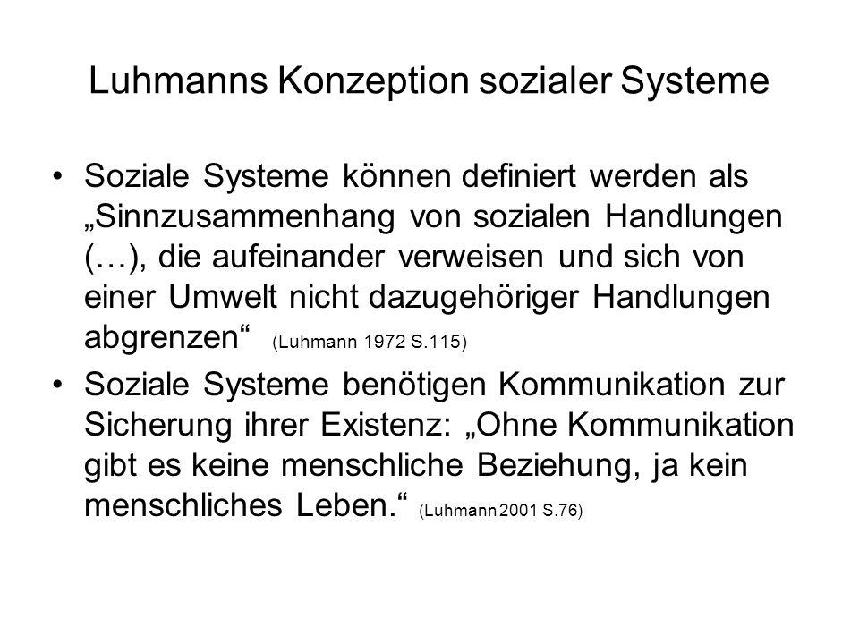 Luhmanns Konzeption sozialer Systeme Soziale Systeme können definiert werden als Sinnzusammenhang von sozialen Handlungen (…), die aufeinander verweis