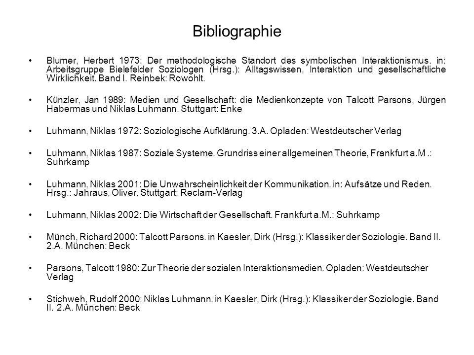 Bibliographie Blumer, Herbert 1973: Der methodologische Standort des symbolischen Interaktionismus. in: Arbeitsgruppe Bielefelder Soziologen (Hrsg.):