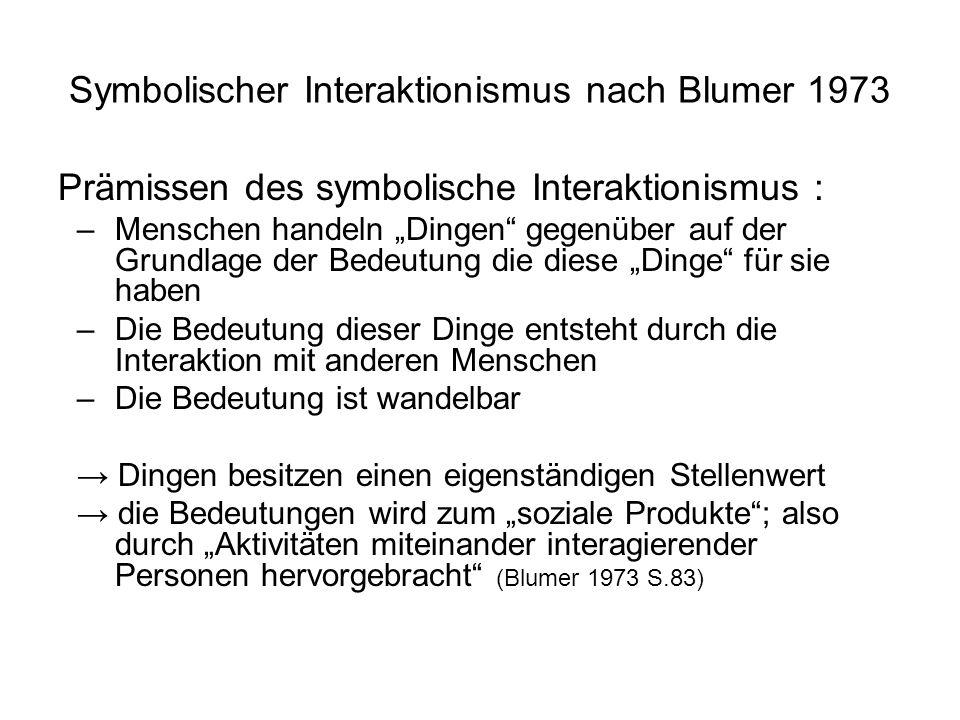 Symbolischer Interaktionismus nach Blumer 1973 Prämissen des symbolische Interaktionismus : –Menschen handeln Dingen gegenüber auf der Grundlage der B