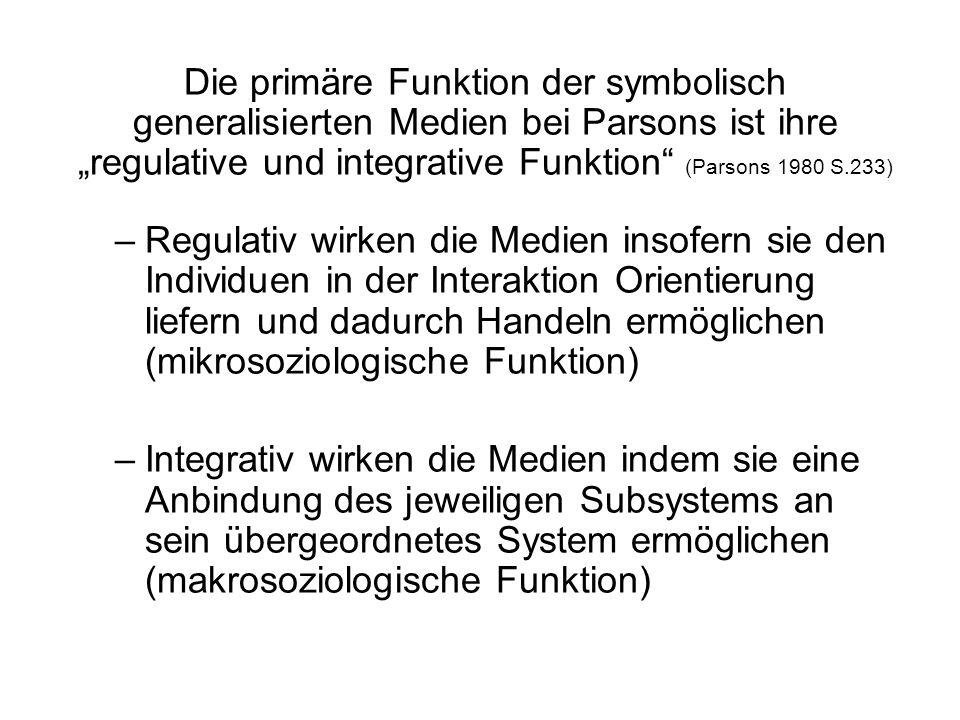 Die primäre Funktion der symbolisch generalisierten Medien bei Parsons ist ihre regulative und integrative Funktion (Parsons 1980 S.233) –Regulativ wi