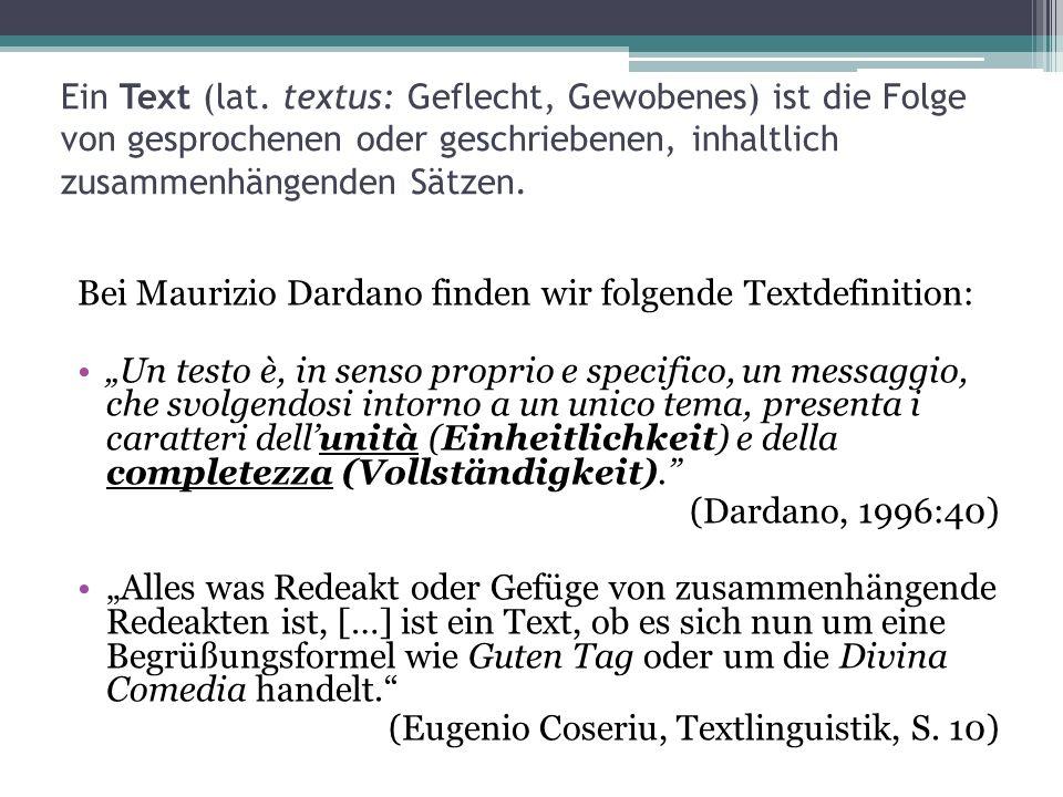Ein Text (lat. textus: Geflecht, Gewobenes) ist die Folge von gesprochenen oder geschriebenen, inhaltlich zusammenhängenden Sätzen. Bei Maurizio Darda