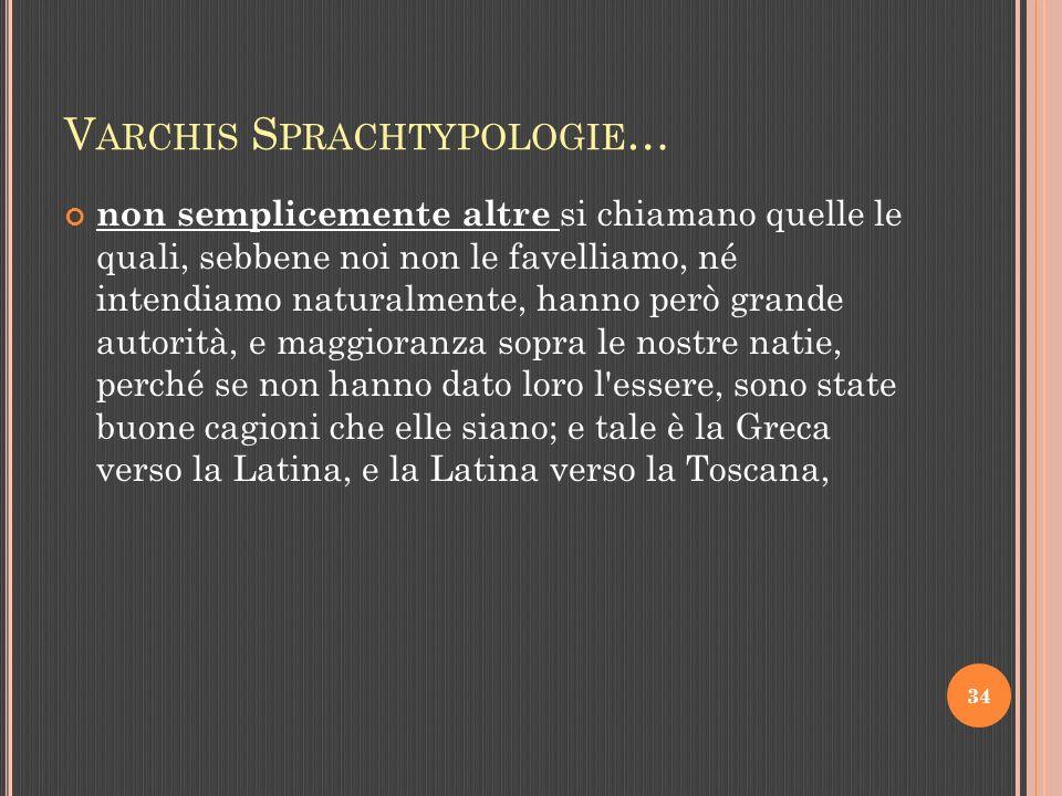 V ARCHIS S PRACHTYPOLOGIE … non semplicemente altre si chiamano quelle le quali, sebbene noi non le favelliamo, né intendiamo naturalmente, hanno però grande autorità, e maggioranza sopra le nostre natie, perché se non hanno dato loro l essere, sono state buone cagioni che elle siano; e tale è la Greca verso la Latina, e la Latina verso la Toscana, 34