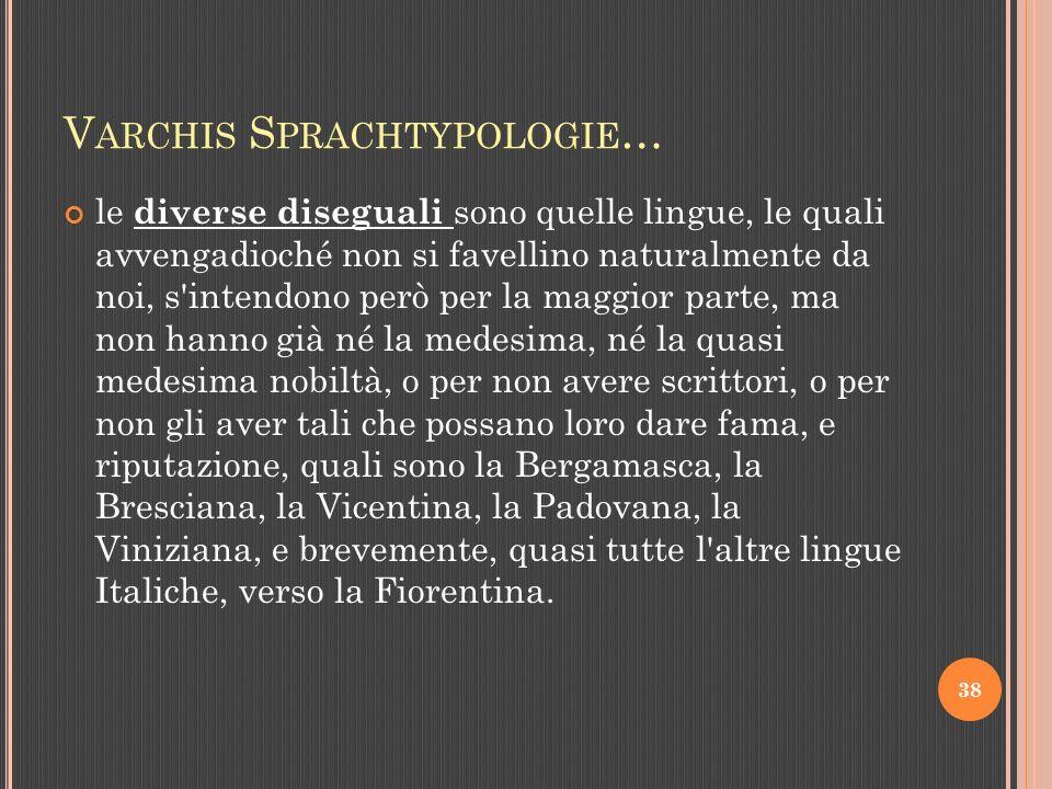 V ARCHIS S PRACHTYPOLOGIE … le diverse diseguali sono quelle lingue, le quali avvengadioché non si favellino naturalmente da noi, s intendono però per la maggior parte, ma non hanno già né la medesima, né la quasi medesima nobiltà, o per non avere scrittori, o per non gli aver tali che possano loro dare fama, e riputazione, quali sono la Bergamasca, la Bresciana, la Vicentina, la Padovana, la Viniziana, e brevemente, quasi tutte l altre lingue Italiche, verso la Fiorentina.