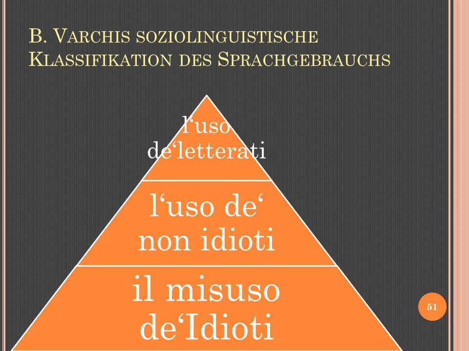 B. V ARCHIS SOZIOLINGUISTISCHE K LASSIFIKATION DES S PRACHGEBRAUCHS 51 luso deletterati luso de non idioti il misuso deIdioti