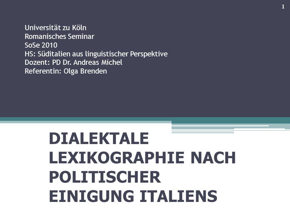 Universität zu Köln Romanisches Seminar SoSe 2010 HS: Süditalien aus linguistischer Perspektive Dozent: PD Dr.