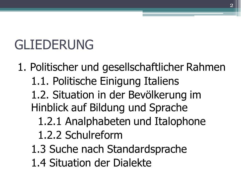 GLIEDERUNG 1. Politischer und gesellschaftlicher Rahmen 1.1.