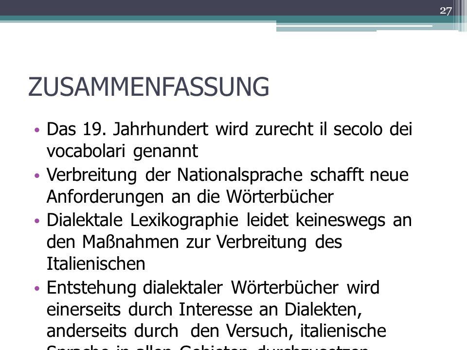 ZUSAMMENFASSUNG Das 19.