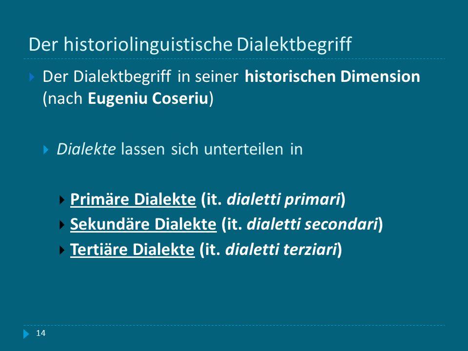 Der historiolinguistische Dialektbegriff 14 Der Dialektbegriff in seiner historischen Dimension (nach Eugeniu Coseriu) Dialekte lassen sich unterteile