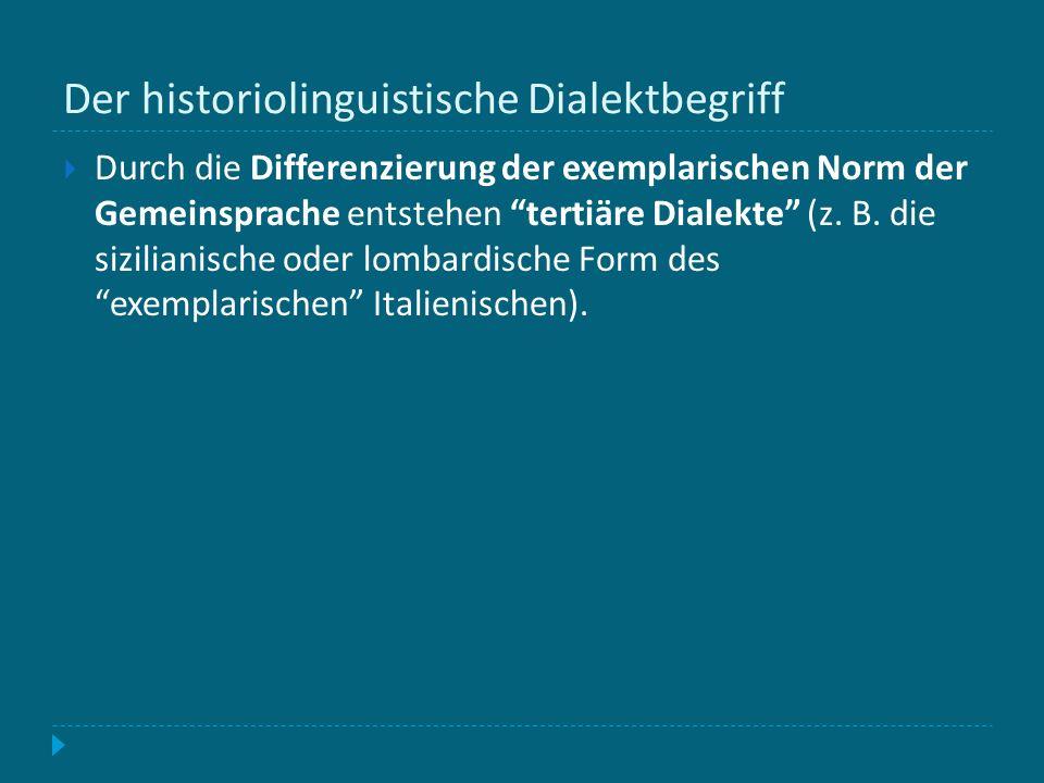 Der historiolinguistische Dialektbegriff Durch die Differenzierung der exemplarischen Norm der Gemeinsprache entstehen tertiäre Dialekte (z. B. die si