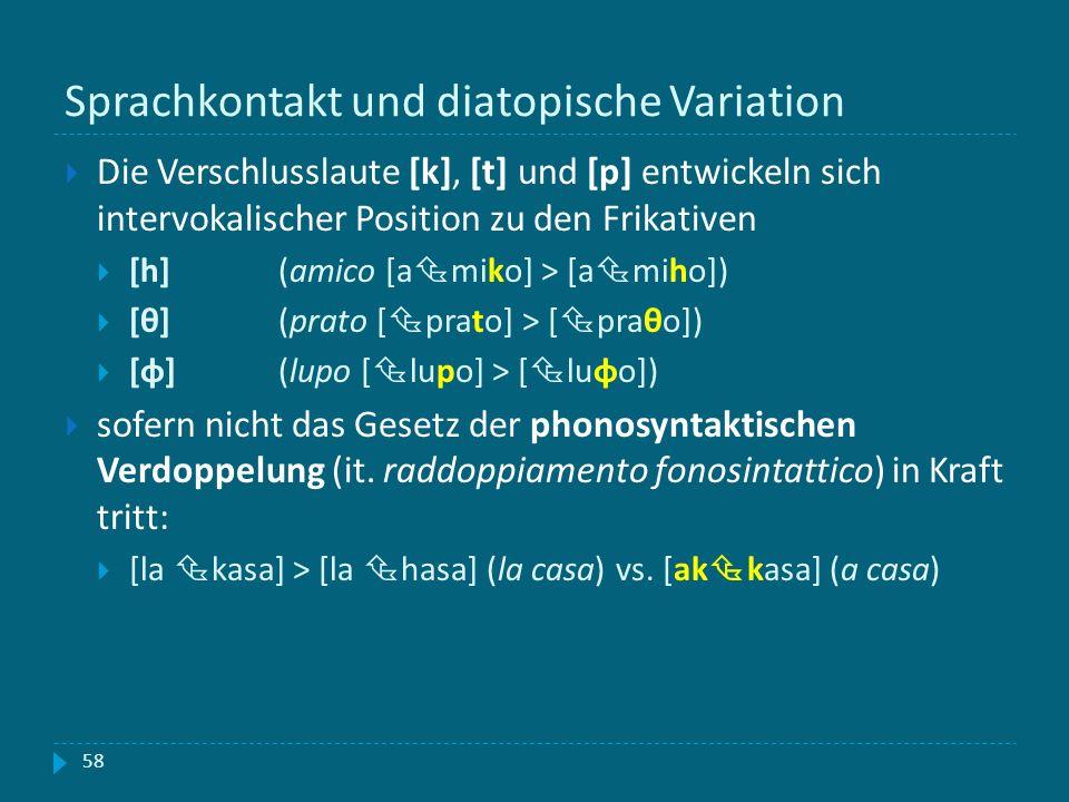 Sprachkontakt und diatopische Variation Die Verschlusslaute [k], [t] und [p] entwickeln sich intervokalischer Position zu den Frikativen [h] (amico [a