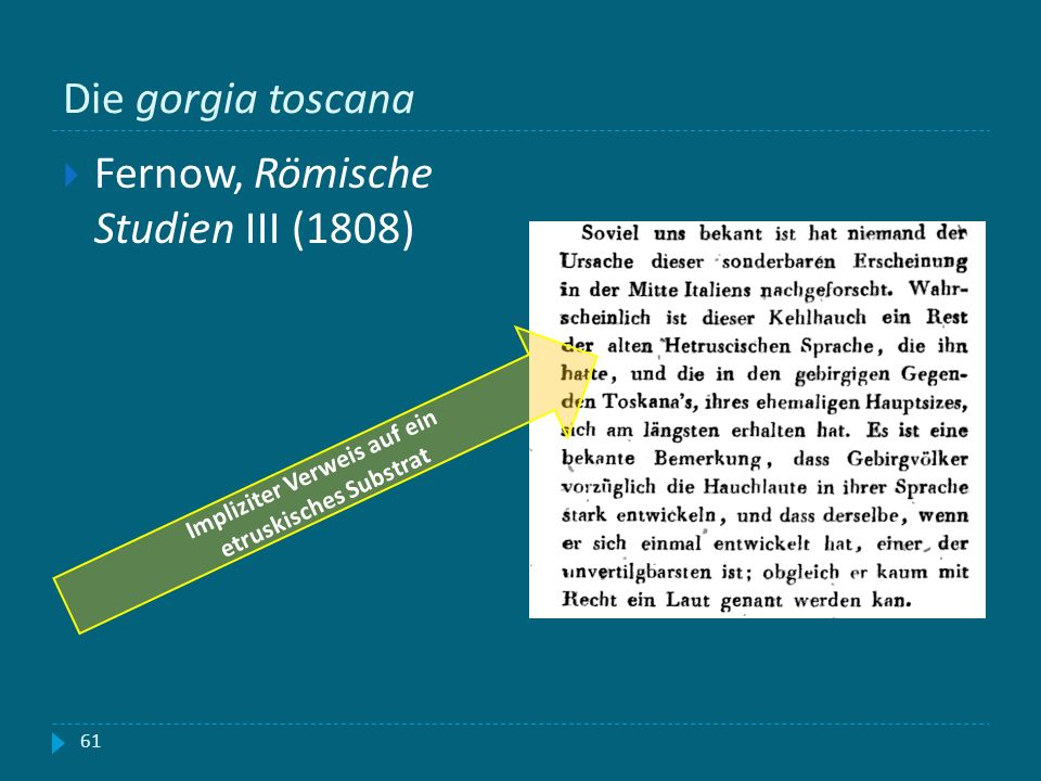Die gorgia toscana 61 Fernow, Römische Studien III (1808) Impliziter Verweis auf ein etruskisches Substrat