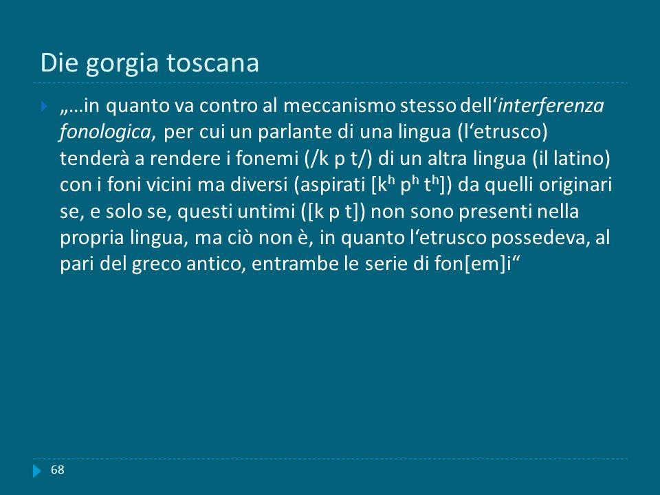 Die gorgia toscana …in quanto va contro al meccanismo stesso dellinterferenza fonologica, per cui un parlante di una lingua (letrusco) tenderà a rende