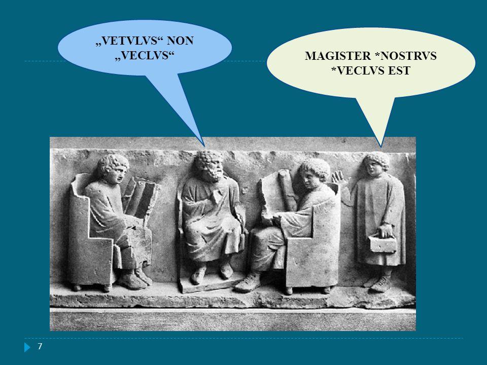 7 MAGISTER *NOSTRVS *VECLVS EST VETVLVS NON VECLVS