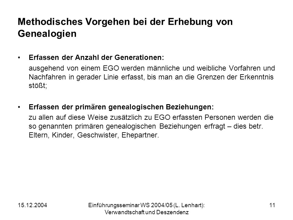 15.12.2004Einführungsseminar WS 2004/05 (L. Lenhart): Verwandtschaft und Deszendenz 11 Methodisches Vorgehen bei der Erhebung von Genealogien Erfassen