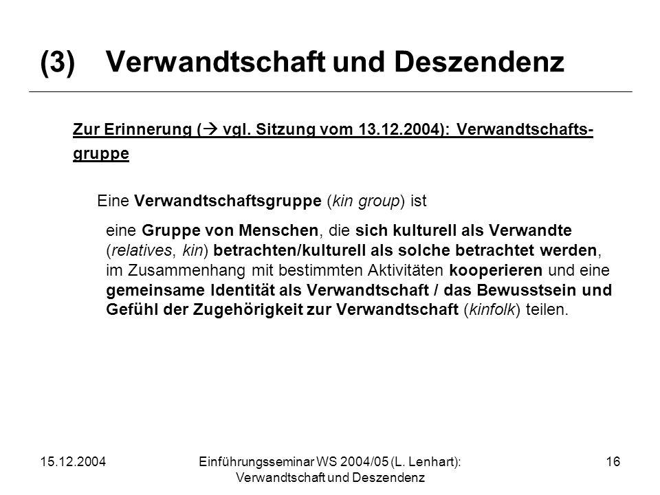 15.12.2004Einführungsseminar WS 2004/05 (L. Lenhart): Verwandtschaft und Deszendenz 16 (3)Verwandtschaft und Deszendenz Zur Erinnerung ( vgl. Sitzung