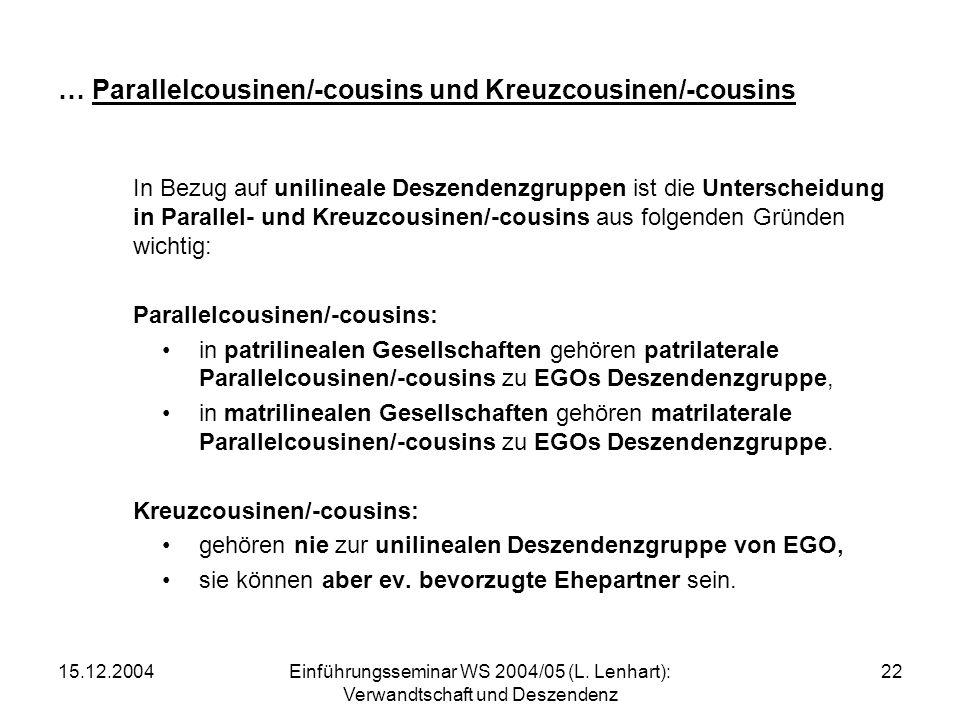 15.12.2004Einführungsseminar WS 2004/05 (L. Lenhart): Verwandtschaft und Deszendenz 22 … Parallelcousinen/-cousins und Kreuzcousinen/-cousins In Bezug