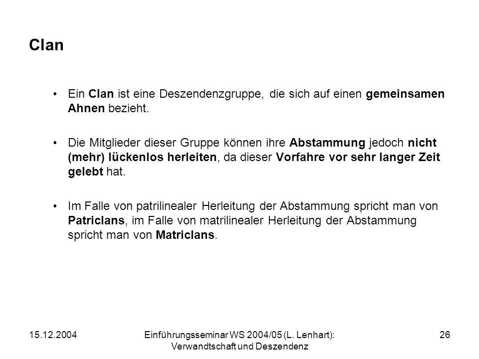 15.12.2004Einführungsseminar WS 2004/05 (L. Lenhart): Verwandtschaft und Deszendenz 26 Clan Ein Clan ist eine Deszendenzgruppe, die sich auf einen gem