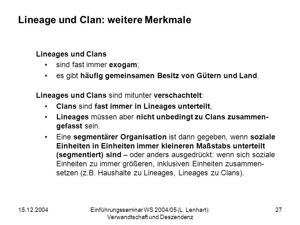 15.12.2004Einführungsseminar WS 2004/05 (L. Lenhart): Verwandtschaft und Deszendenz 27 Lineage und Clan: weitere Merkmale Lineages und Clans sind fast