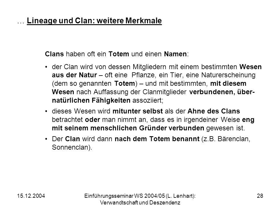 15.12.2004Einführungsseminar WS 2004/05 (L. Lenhart): Verwandtschaft und Deszendenz 28 … Lineage und Clan: weitere Merkmale Clans haben oft ein Totem