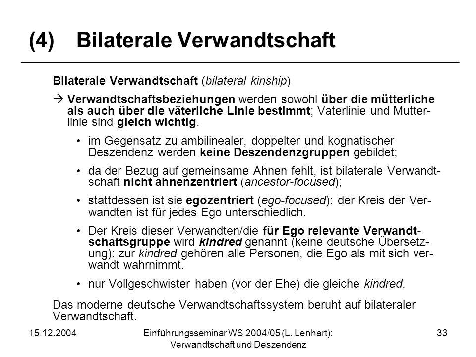 15.12.2004Einführungsseminar WS 2004/05 (L. Lenhart): Verwandtschaft und Deszendenz 33 (4)Bilaterale Verwandtschaft Bilaterale Verwandtschaft (bilater