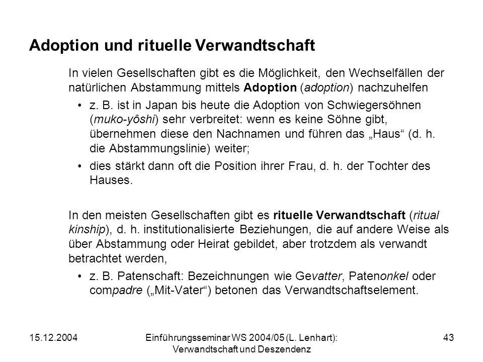 15.12.2004Einführungsseminar WS 2004/05 (L. Lenhart): Verwandtschaft und Deszendenz 43 Adoption und rituelle Verwandtschaft In vielen Gesellschaften g