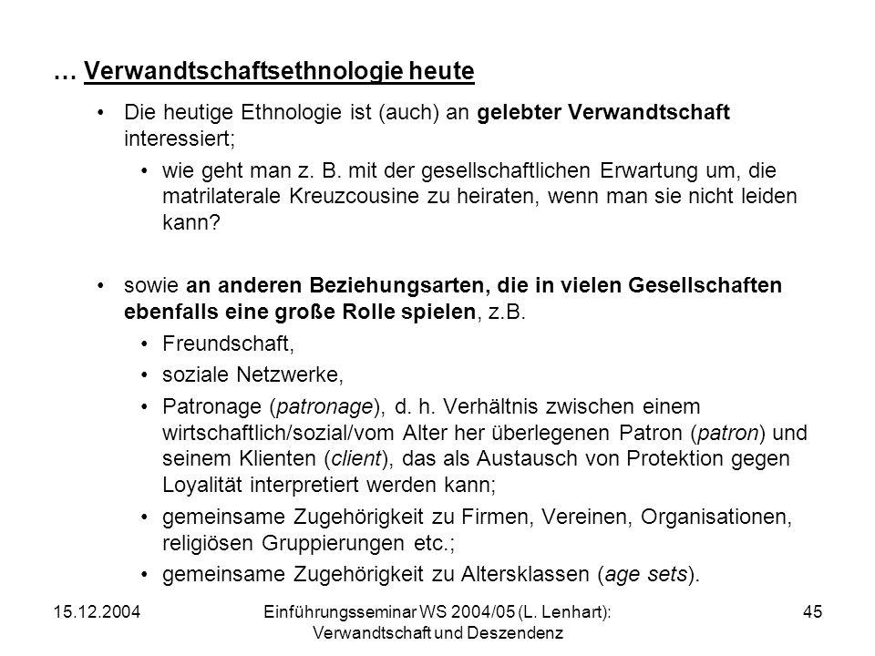 15.12.2004Einführungsseminar WS 2004/05 (L. Lenhart): Verwandtschaft und Deszendenz 45 … Verwandtschaftsethnologie heute Die heutige Ethnologie ist (a
