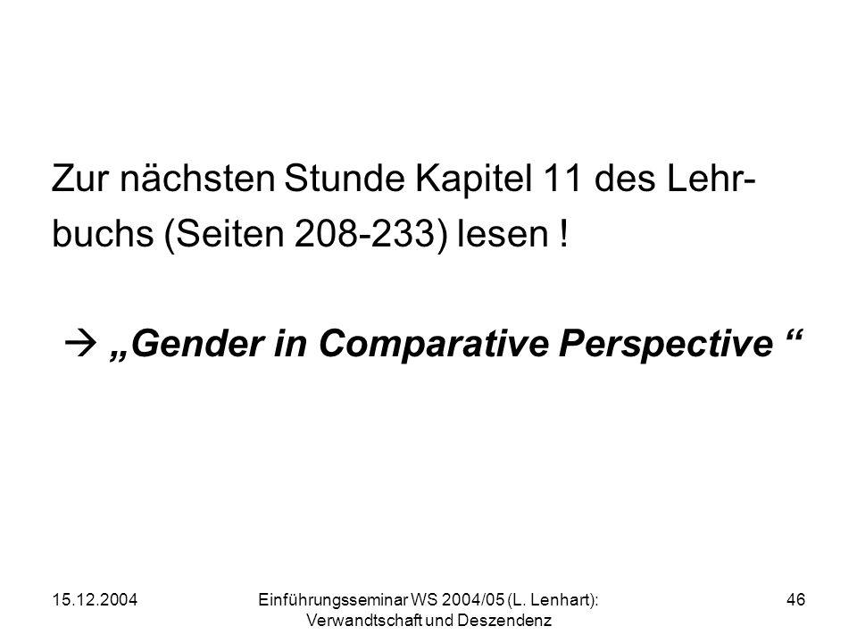 15.12.2004Einführungsseminar WS 2004/05 (L. Lenhart): Verwandtschaft und Deszendenz 46 Zur nächsten Stunde Kapitel 11 des Lehr- buchs (Seiten 208-233)