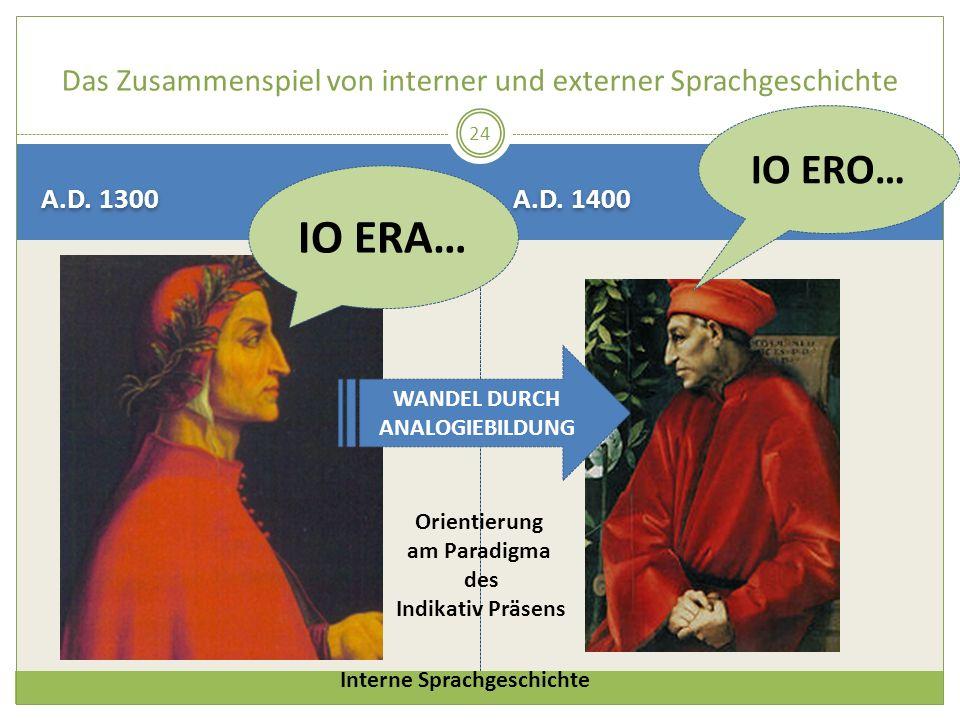 A.D. 1300 A.D. 1400 24 Das Zusammenspiel von interner und externer Sprachgeschichte IO ERA… IO ERO… WANDEL DURCH ANALOGIEBILDUNG Orientierung am Parad