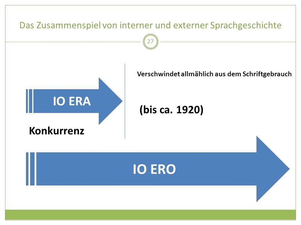Das Zusammenspiel von interner und externer Sprachgeschichte 27 IO ERA IO ERO (bis ca. 1920) Konkurrenz Verschwindet allmählich aus dem Schriftgebrauc