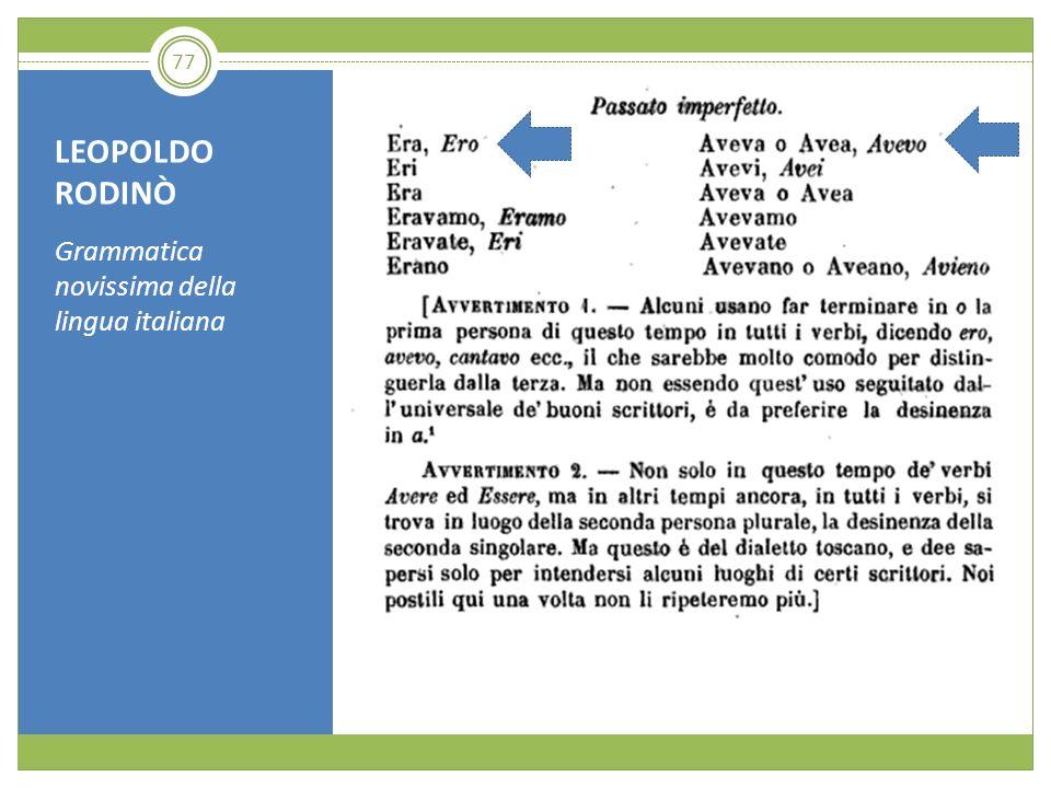 LEOPOLDO RODINÒ Grammatica novissima della lingua italiana 77