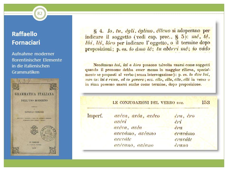 Raffaello Fornaciari Aufnahme moderner florentinischer Elemente in die italienischen Grammatiken 82