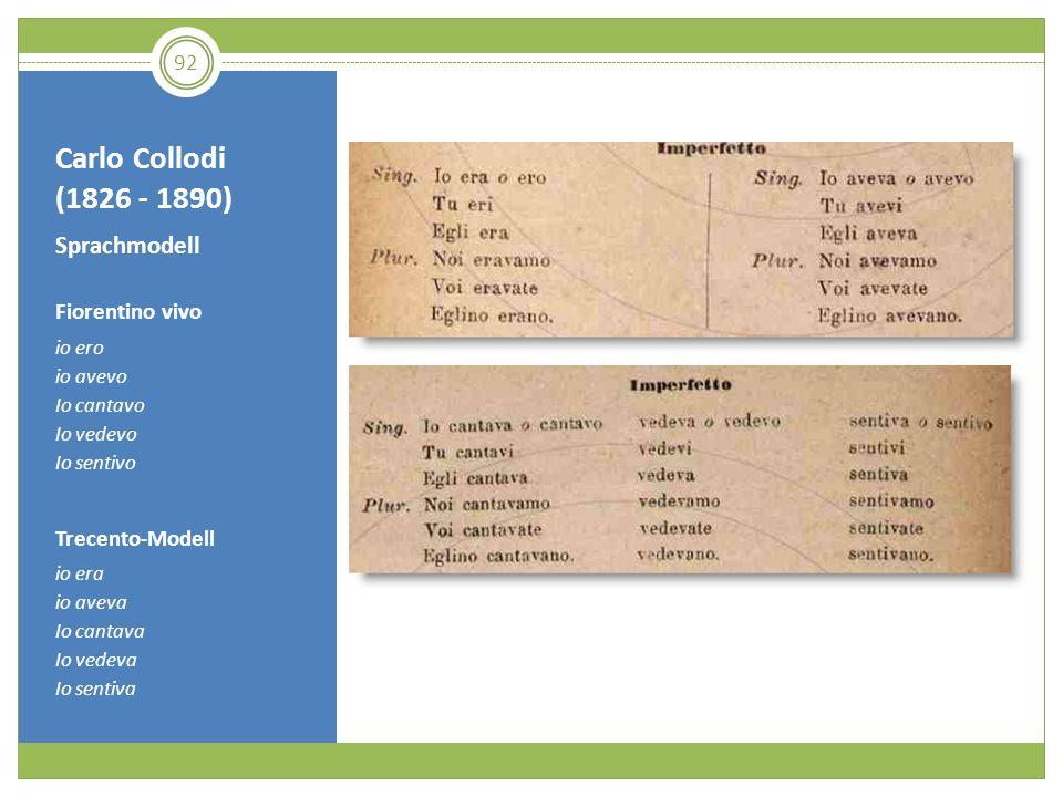 Carlo Collodi (1826 - 1890) Sprachmodell Fiorentino vivo io ero io avevo Io cantavo Io vedevo Io sentivo Trecento-Modell io era io aveva Io cantava Io