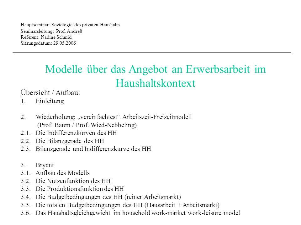 Hauptseminar: Soziologie des privaten Haushalts Seminarsleitung: Prof.