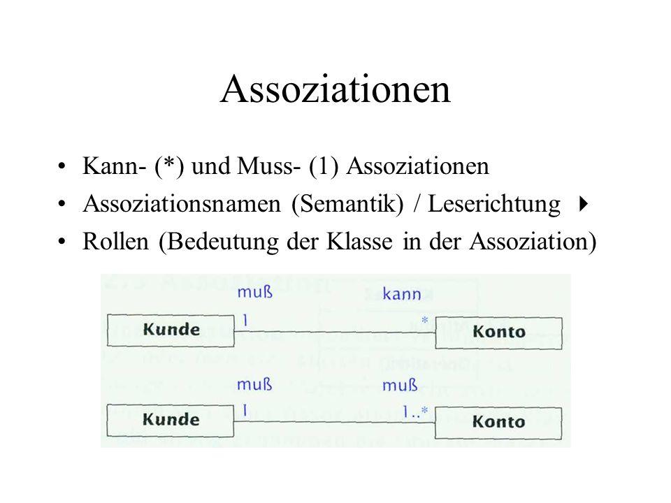 Assoziationen Restriktionen (constraints): frei formulierbar or, subset,....