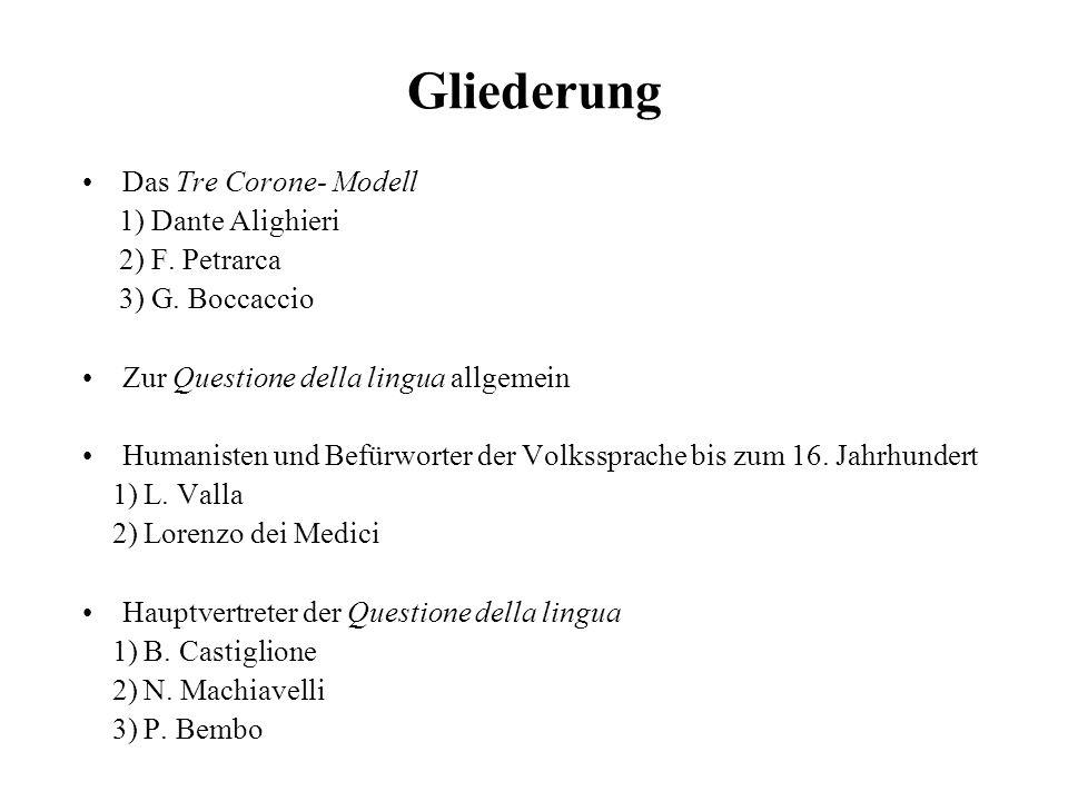 Gliederung Das Tre Corone- Modell 1) Dante Alighieri 2) F. Petrarca 3) G. Boccaccio Zur Questione della lingua allgemein Humanisten und Befürworter de